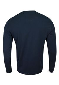 Brave Soul - Koszulka Longsleeve, Granatowa z Długim Rękawem, T-shirt Męski, Jednokolorowy z Logo -BRAVE SOUL. Okazja: na co dzień. Kolor: niebieski. Materiał: bawełna. Długość rękawa: długi rękaw. Długość: długie. Wzór: aplikacja. Styl: casual