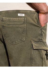 Ombre Clothing - Krótkie spodenki męskie dresowe W292 - oliwkowe - XXL. Kolor: oliwkowy. Materiał: dresówka. Długość: krótkie