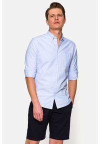 Lancerto - Koszula Błękitna Sylvia. Typ kołnierza: button down. Kolor: niebieski. Materiał: bawełna, tkanina, jeans. Wzór: ze splotem. Styl: sportowy