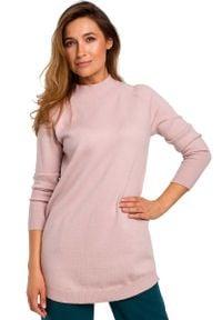 MOE - Sweter-Tunika z Półgolfem - Różowy. Kolor: różowy. Materiał: wełna, poliester, akryl