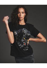 RETROFETE - Czarny t-shirt z Jaguarem. Kolor: czarny. Materiał: materiał, bawełna. Styl: rockowy