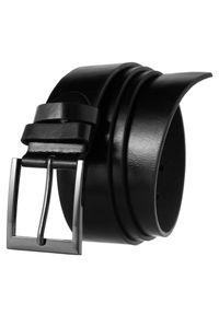 4U CAVALDI - Pasek męski czarny Cavaldi BOM-PS2 BLACK. Kolor: czarny. Materiał: skóra ekologiczna. Wzór: gładki. Styl: casual