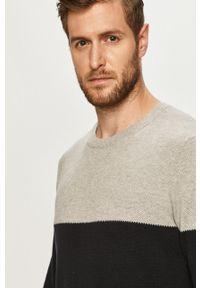 Szary sweter PRODUKT by Jack & Jones z okrągłym kołnierzem, na co dzień, casualowy