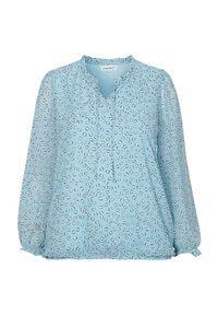 Zhenzi Bluzka z wiązaniem Kadi błękitny we wzory female niebieski/ze wzorem 50/52 (L). Kolor: niebieski. Materiał: guma, materiał