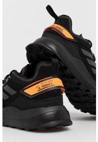 Czarne buty trekkingowe adidas Performance na sznurówki, Adidas Terrex, z okrągłym noskiem