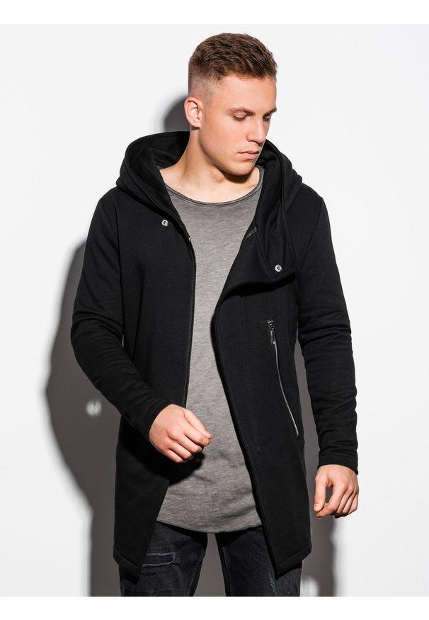 Ombre Clothing - Bluza męska rozpinana z kapturem B668 HUGO - czarna - XXL. Typ kołnierza: kaptur. Kolor: czarny. Materiał: bawełna, poliester. Styl: klasyczny, elegancki