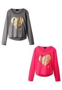 Shirt dziewczęcy z długim rękawem (2 szt.) bonprix szary melanż - różowy hibiskus. Kolor: szary. Długość rękawa: długi rękaw. Długość: długie. Wzór: melanż