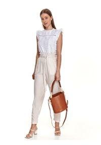 TOP SECRET - Spodnie paperbag w paski, z wiązaniem w talii. Stan: podwyższony. Kolor: biały. Materiał: materiał. Długość: długie. Wzór: paski. Sezon: lato
