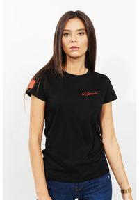 Czarny t-shirt Edward Orlovski krótki, elegancki, w kolorowe wzory, z krótkim rękawem