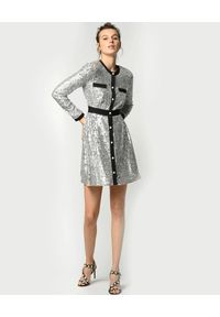 Pinko - PINKO - Srebrna mini sukienka z cekinami Contento. Okazja: na imprezę. Kolor: srebrny. Długość rękawa: długi rękaw. Wzór: aplikacja. Styl: wizytowy, glamour. Długość: mini