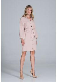 Figl - Koszulowa Sukienka Bawełniana z Długim Bufiastym Rękawem - Beżowa. Kolor: beżowy. Materiał: bawełna. Typ sukienki: koszulowe