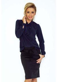 Niebieska bluzka z długim rękawem Numoco elegancka