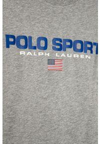Szary t-shirt Polo Ralph Lauren polo, z nadrukiem, casualowy, na co dzień