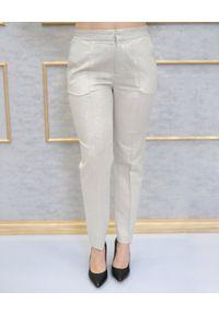 EMMA & GAIA - Spodnie z mieniącą się nitką. Kolor: złoty. Styl: klasyczny