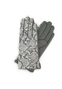 Wittchen - Damskie rękawiczki ze skóry z wężowym motywem. Kolor: szary. Materiał: skóra. Wzór: motyw zwierzęcy