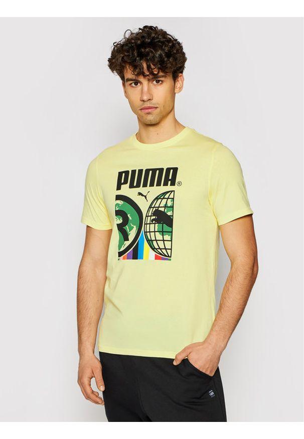 Puma T-Shirt Intl 599804 Żółty Regular Fit. Kolor: żółty