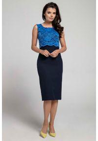Niebieska sukienka Nommo elegancka, bez rękawów, w koronkowe wzory