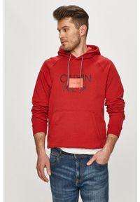Czerwona bluza nierozpinana Calvin Klein casualowa, na co dzień, z kapturem, z nadrukiem