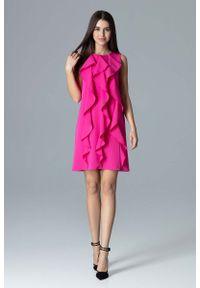 Różowa sukienka wizytowa Figl z falbankami, trapezowa, wizytowa