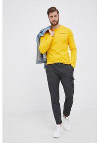 TOMMY HILFIGER - Tommy Hilfiger - Longsleeve bawełniany. Okazja: na co dzień. Kolor: żółty. Materiał: bawełna. Długość rękawa: długi rękaw. Wzór: nadruk. Styl: casual