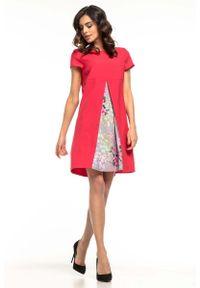 Różowa sukienka wizytowa Tessita w kwiaty, trapezowa