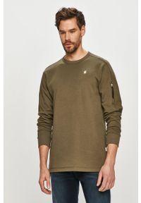 Zielona bluza nierozpinana G-Star RAW gładkie, bez kaptura, casualowa