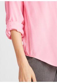 Różowa tunika bonprix długa, z długim rękawem, z dekoltem w serek