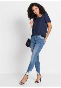 Shirt bluzkowy z ażurową koronką bonprix ciemnoniebieski. Kolor: niebieski. Materiał: koronka. Wzór: ażurowy, koronka