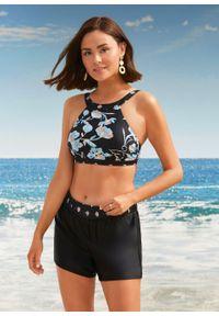 Biustonosz bikini bustier bonprix czarno-jasnoniebieski w roślinny wzór. Kolor: czarny