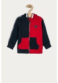 Czerwona bluza rozpinana Guess z kapturem, gładkie, na co dzień, casualowa