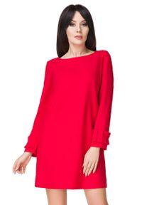 Tessita - Czerwona Sukienka z Falbanką przy Rękawie. Kolor: czerwony. Materiał: elastan, poliester