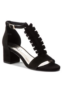 Czarne sandały Karino na co dzień, casualowe, z aplikacjami