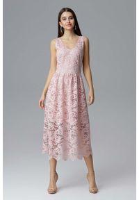 Różowa sukienka wieczorowa Figl na ramiączkach