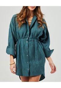 MARLU - Zielona sukienka koszulowa Santo. Kolor: zielony. Materiał: len. Długość rękawa: długi rękaw. Typ sukienki: koszulowe. Styl: wakacyjny. Długość: mini