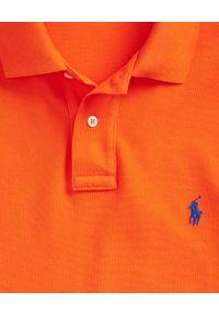 Ralph Lauren - RALPH LAUREN - Pomarańczowy t-shirt polo Classic Fit. Typ kołnierza: polo. Kolor: pomarańczowy. Materiał: bawełna. Wzór: haft #5