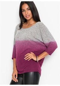Shirt oversize w cieniowanym kolorze bonprix szaro-jeżynowy melanż. Kolor: szary. Wzór: melanż #2