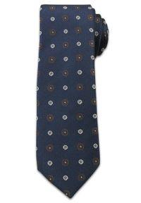 Stylowy Krawat Męski w Grochy i Kwiatki- Chattier- 6,5cm- Kolorowy. Kolor: niebieski. Materiał: tkanina. Wzór: grochy. Styl: elegancki