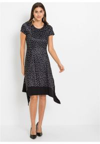 Czarna sukienka bonprix w kropki, asymetryczna