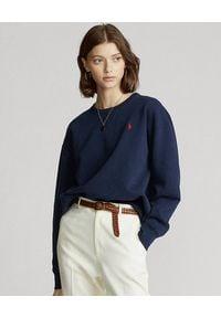 Ralph Lauren - RALPH LAUREN - Granatowa bluza z logo. Typ kołnierza: polo. Kolor: niebieski. Materiał: bawełna. Wzór: haft