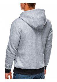 Ombre Clothing - Bluza męska rozpinana z kapturem B297 - szara - XXL. Typ kołnierza: kaptur. Kolor: szary. Materiał: poliester, dzianina, bawełna