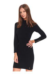 Czarna sukienka TOP SECRET z golfem, na jesień, mini, gładkie