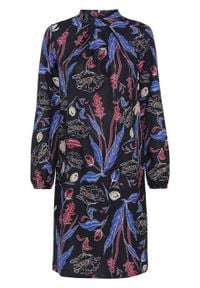 Sukienka z nadrukiem, długi rękaw bonprix ciemnoniebieski w kwiaty. Typ kołnierza: kołnierzyk stójkowy. Kolor: niebieski. Materiał: materiał, tkanina, poliester, elastan. Długość rękawa: długi rękaw. Wzór: kwiaty, nadruk