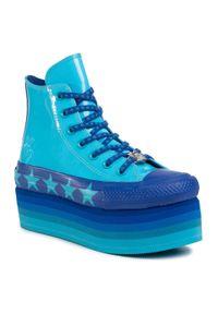 Niebieskie półbuty na koturnie Converse z cholewką