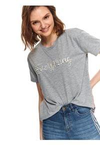 TOP SECRET - T-shirt z aplikacjami. Kolor: szary. Długość rękawa: krótki rękaw. Długość: krótkie. Wzór: aplikacja. Sezon: lato. Styl: klasyczny