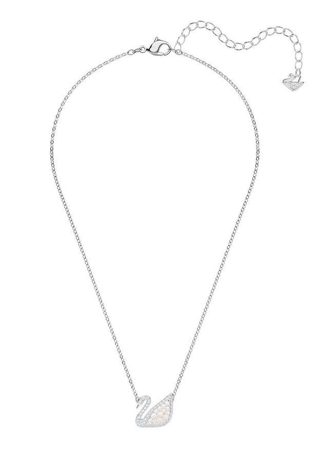 Srebrny naszyjnik Swarovski metalowy, z aplikacjami, z kryształem