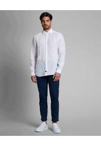 FAY - Lniana biała koszula. Kolor: biały. Materiał: len. Długość rękawa: długi rękaw. Długość: długie. Styl: klasyczny