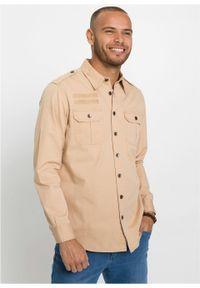 """Koszula z długim rękawem i pagonami na ramionach bonprix latte macchiato """"used"""". Kolor: brązowy. Długość rękawa: długi rękaw. Długość: długie"""