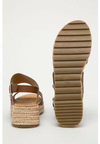 Brązowe sandały U.S. Polo Assn na obcasie, na klamry, gładkie, na średnim obcasie