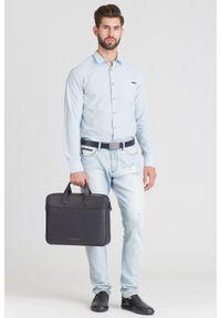 Niebieska koszula Armani Exchange biznesowa, na lato