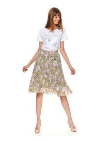 Zielona spódnica TOP SECRET na lato, w kwiaty, elegancka